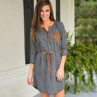 Summer Hot Sale Stripes Long Sleeve Women's Fashion Striped One Piece Dress = 4816834052