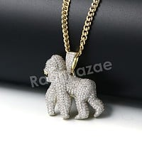 Hiphop Gorilla Brass Pendant W/ 5mm 18-30 inches Cuban Chain