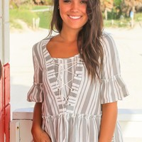 Gray Striped Lace Up Top