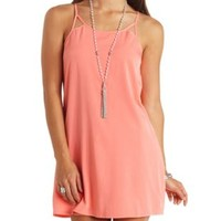 Strappy Open Back Shift Dress by Charlotte Russe - Coral