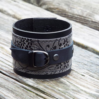 Gray black leather cuff. Leather bracelet. Woman leather wrist band.