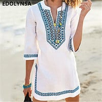 2019 Women Beachwear Cover-ups Vintage Embroidered Summer Beach Dress White Cotton Tunic Swimsuit Cover Up Sarongs plage  #Q549