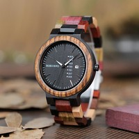 Men Colorful Wooden Strap Classic Watch