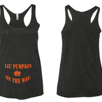 Lil Pumpkin On The Way Maternity Tank Top. Fun Halloween Maternity Tank Top. Halloween Tank Top