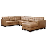 Martino Leather 3-Piece Chaise Sectional Sofa