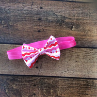 Valentine's Day Collection - Striped Hearts Headband