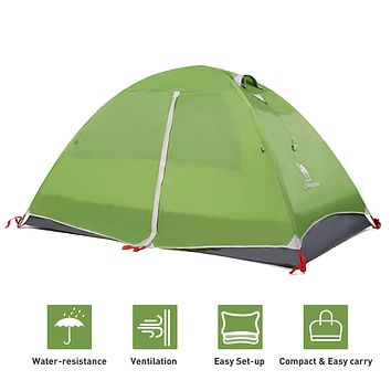 CAMEL CROWN 2-3 Person Tent Camping Dome Tent Outdoor Lightweight Water Resistant Hiking Travel Beach Backpacking Tent deep green