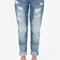Dittos Charlie Ripped Wash Cropped Boyfriend Jeans