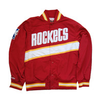 Mitchell & Ness Houston Rockets NBA Net Warm Up Jacket In Red