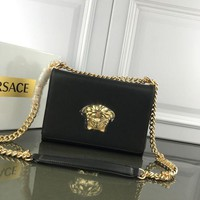 VERSACE WOMEN'S LEATHER INCLINED CHAIN SHOULDER BAG-KUYOU