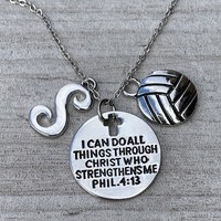 PersonalizedChristian Faith Volleyball Necklace with Letter Charm