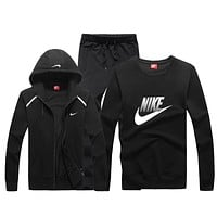 Nike Fashion Casual Hooded Cardigan Jacket Coat Top Sweater Pants Trousers Set Three-Piece