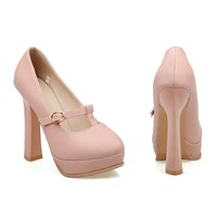 Super High Heel Round Platform Low-cut Women Shoes   pink  35