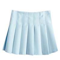 Sky Blue Back Zipper Pleated Mini A-Line Skirt