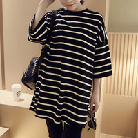 Summer Womens Straps Long T-Shirts Gift 29