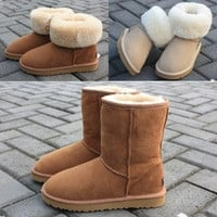New HOT  Classic Tall Style UG Men and Women Winter Warm Brand  Leather Snow Boots  [8384288391]