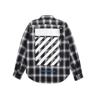 OFF-WHITE autumn and winter new twill letter plaid striped men and women shirt white+black