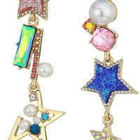 Betsey Johnson Womens Multicolor and Gold Linear Non-Matching Earrings