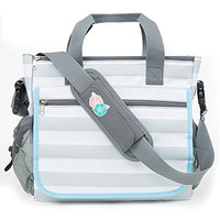 Bula Baby - Stylish Grey Stripe Diaper Tote Organizer Bag - With 11 Pockets to Keep Everything Secure