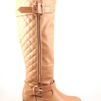 Taupe Wedge Boot with Quilt and Zipper Design