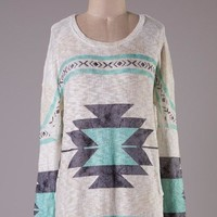 Aztec Print Tunic - Taupe and Mint