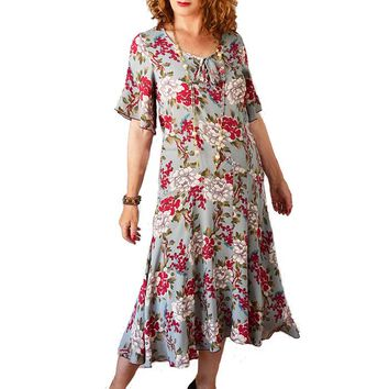 1920s Inspired Rose Floral Dropped Waist Dress