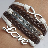 The infinite love ancient silver-Where there's a will there is a way- waxed thread woven bracelet