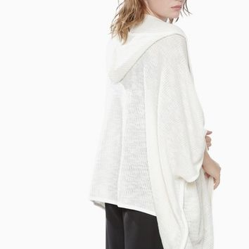 WHITE OPEN HOODED PANCHO CARDIGAN