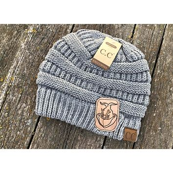 Grinch Light Grey CC Beanie Hat Tooled Leather Patch Hat