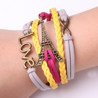 Rope Bracelet White and Yellow Love Eiffel Tower Inifinty and Beyond