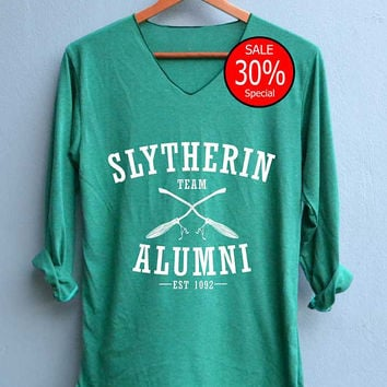 Slytherin Alumni Shirt Harry Potter Shirts V-Neck Green Unisex Adult Size S M L