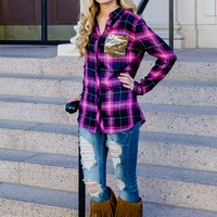 Clothing - Pink Sequins And Plaid Top