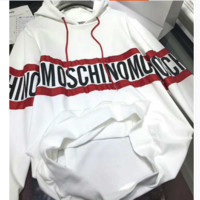 MOSCHINO Fashion Monogram Logo Print Hooded Long Sleeve Loose Sweater  G-AGG-CZDL
