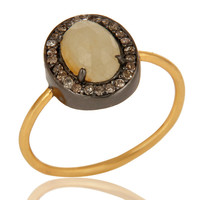14K Yellow Gold Natural Yellow Sapphire Gemstone Stack Ring With Pave Diamond