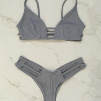 Gray sexy back hollow Under part hollow polyline two piece bikini bath suit