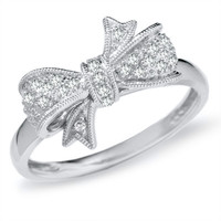 1/10 CT. T.W. Diamond Bow Ring in 10K White Gold