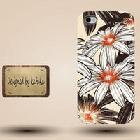 iphone case, i phone 4 4s 5 5s case, iphone4 iphone4s iphone5 case, plastic rubber silicone cases cover,Brown floral pattern p1146