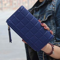 Leather Square Patterned Wallet/Clutch