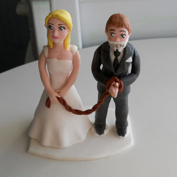 Funny Wedding Couple fondant cake topper with yes