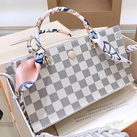 LV Fashion New Tartan Print  Leather Shoulder Bag Handbag Crossbody Bag White