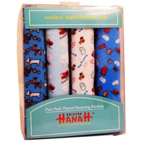 Kristen Hanah 4 Pack Assorted Flannel Receiving Blankets, Color # 3
