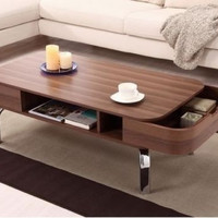 Storage Coffee Table Modern Living Room Furniture Removable Drawers Shelf Brown