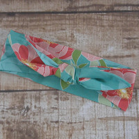 Ready To Ship Teal Flower Floral Designer Fabric Top Knot Headband Head Tie Headwrap