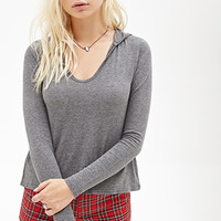 FOREVER 21 Heathered U-Neck Hoodie Charcoal