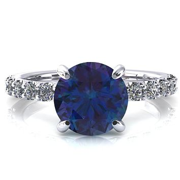 Alessi Round Alexandrite 4 Claw Prong 3/4 Micro Pave Engagement Ring