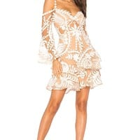 Cloud Nine White Lace Cold Shoulder Dress