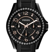 Women's Fossil 'Riley' Round Crystal Bezel Bracelet Watch, 38mm - Black