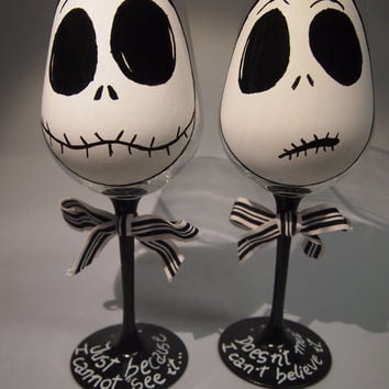 2 Copas de vino pintadas a mano Jack skellington Hand painted wineglass Jack skellington