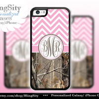 Monogram Iphone 5C case iPhone 5s  iPhone 4 case Ipod 4 5 Touch case Real Tree Camo Pink Chevron Zig Zag  Personalized