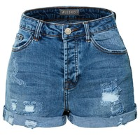 LE3NO Womens Stretchy High Rise Washed Destroyed Denim Short with Rolled Cuff